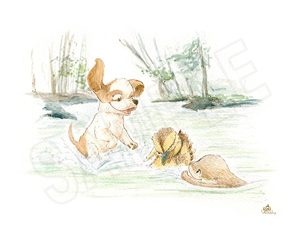 Puppy Alaric, Otter Drea, Duck Corbin splashing around