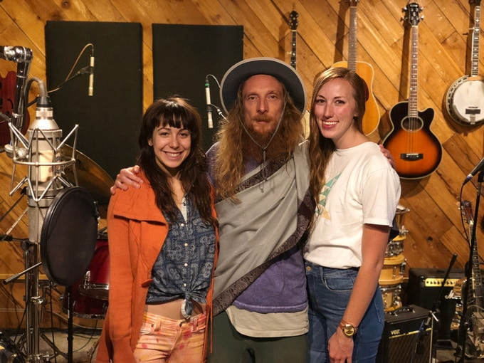 Mahadev in Rosewood Studio with Sarah Little Drums (vocals) and Stacie Flescher (drums, vocals)