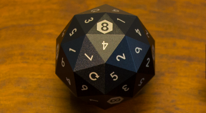 How does the d8 work? We included four re-roll faces to make the math work. 93.33% of the time it lands on one of the other 56 faces.