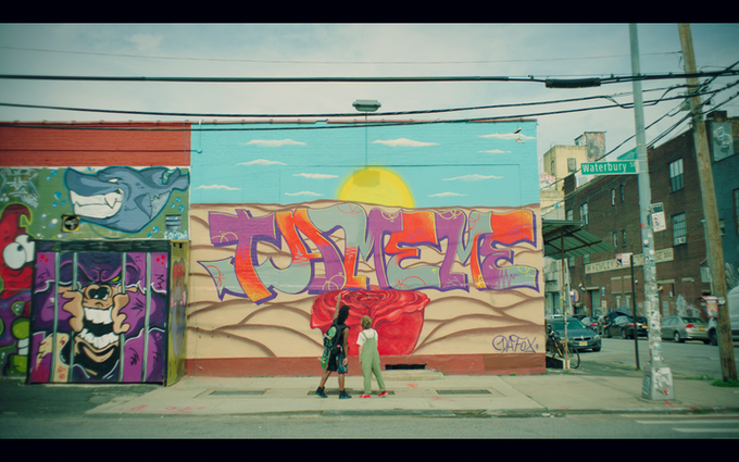 "Our prince meets Da Fox in Bushwick, Brooklyn, in front of a mural with a graffiti that says ""TAME ME"". (Mural by Federico Massa AKA Iena Cruz)"