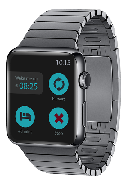 TalkClok has a neat companion app on the Apple Watch. Only the actions you need, large enough to not be missed. Repeat – Quick Snooze – Shut up. Tap it, get it.