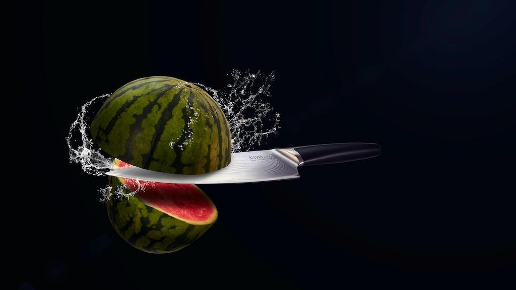 RISVIG Acutus vegetable damascus knife.