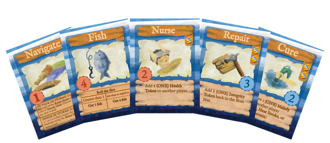 The 5 types of Action Cards: Navigate, Fish, Nurse, Repair, and Cure.