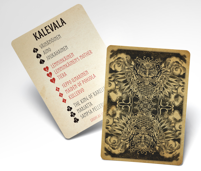 Card back depicting the eagle and an extra 55th card (with character names)