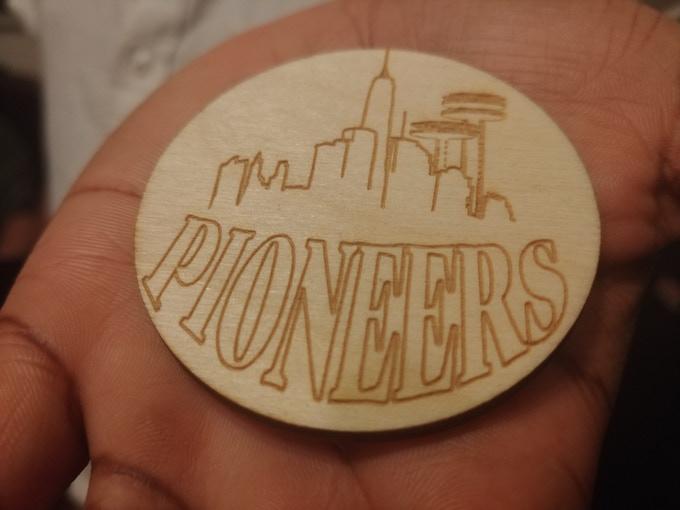 wooden Scout badge prototype