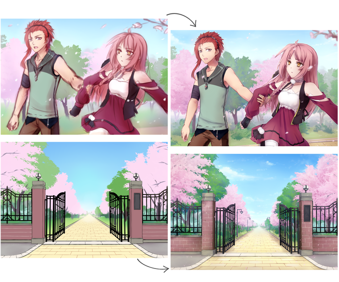 Preview - sketchy to finished CGs and BGs