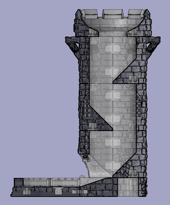 Cutaway view of a 3 layer tower to show tumbler layout