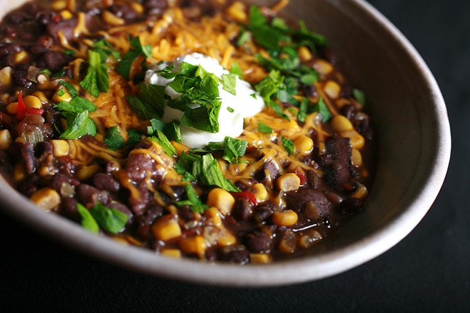 Corn and Black Bean Soup - one of the more traditional recipes from the book.  We get a little weird with some of the recipes...  Weird but TASTY!