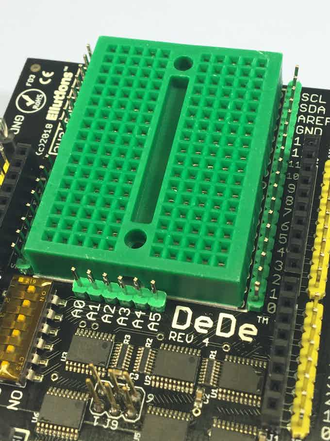 Closeup of the breadboard and headers
