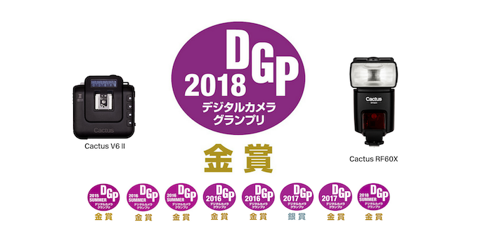 Cactus has won 8 Gold and 1 Silver Digital Grand Priz (DGP) Awards in Japan since 2015 for its innovative Wireless Flash Triggers and Wireless Flashes.