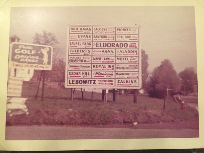 Signs for just a few of the hotels in the 1950s Borscht Belt Catskills