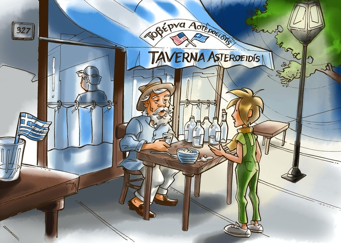 The boy meets a drunken, old Greek man in a taverna in Astoria, Queens.