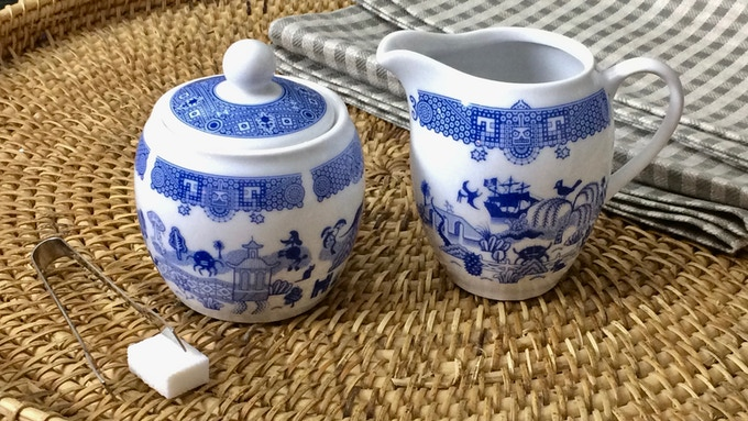 Porcelain creamer and sugar set is great for coffee drinkers who don't need a teapot.