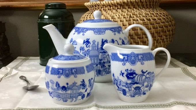 Teapot with creamer and sugar set includes all the new designs.