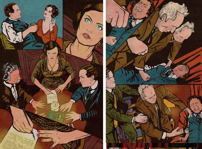 Erin Orr drawn as Lady Doyle on the left and Chris Green drawn as J. Gordon Whitehead on the right.