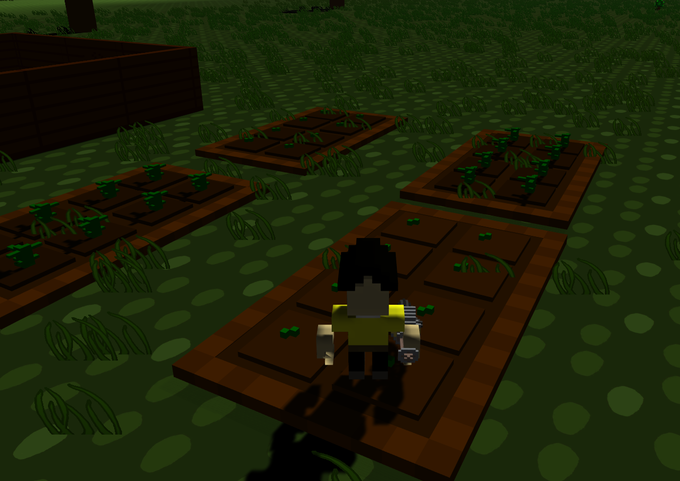 (Tending to the farm hoping for some great crops to cook, so i have something to eat later.)