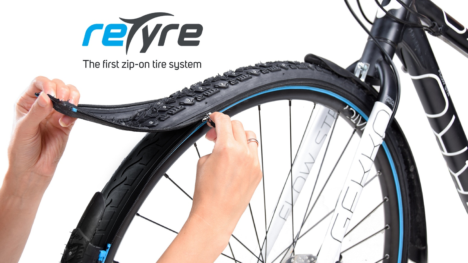 Available for purchase at www.buy.retyre.co  Change your tire in seconds for a better biking experience. reTyre lets you instantly swap out your tire treads to match your terrain.