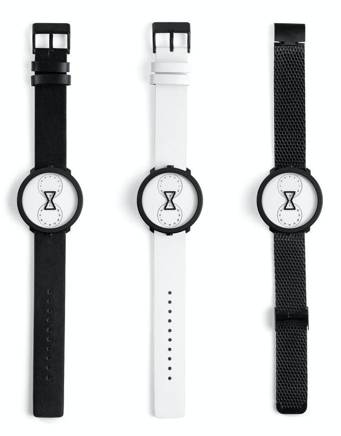 1. Black leather  2. White leather  3. Stainless steel mesh (vegan)
