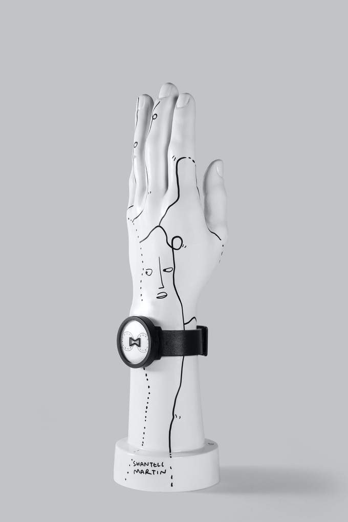 1 of 10 custom hand-drawn NU:RO sculptures by Shantell Martin