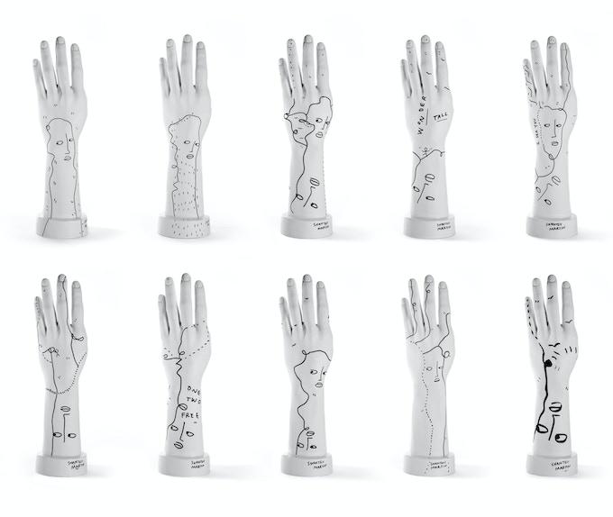 All 10 custom NU:RO sculptures by Shantell Martin
