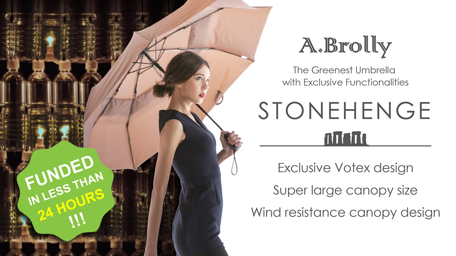 An umbrella that carries cutting-edge technologies and is environmental friendly