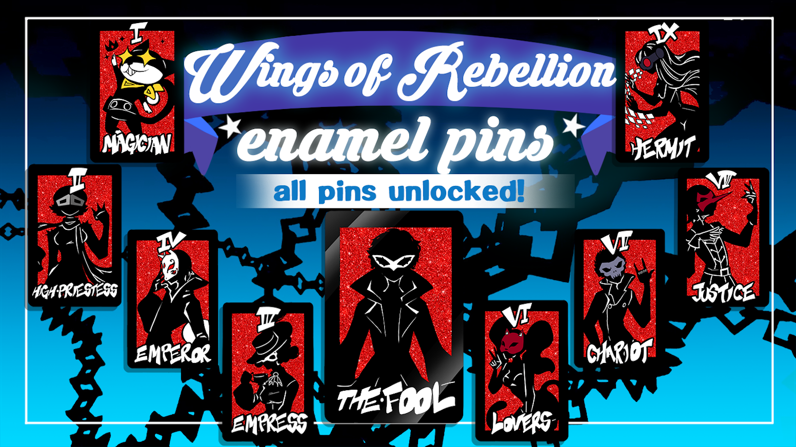50mm x 32mm Tarot themed Persona 5 enamel pins