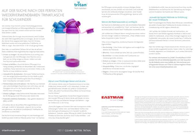 Eastman: Auf der Suche nach der perfekten wiederverwendbaren Trinkflasche für Schulkinder