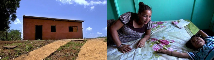 "L: the Lopez' new house in the Nicaraguan countryside; R: says Blanca: ""I have never seen a gift like this - beds for my children."""