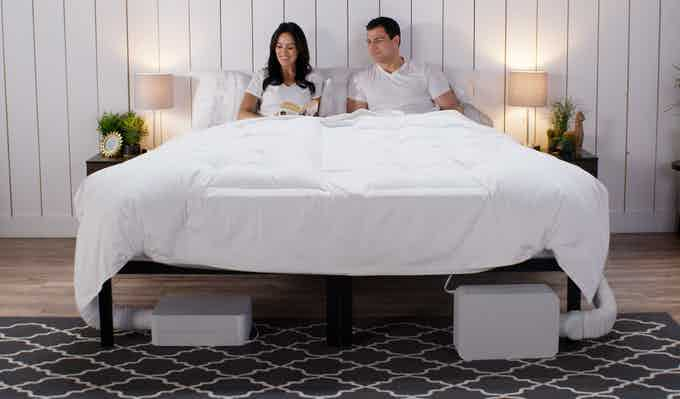 Dual Zone BedJet bundle with Cloud Sheet setup, your comforter or blanket will go over the top.  BedJets can go under the bed or at foot of the bed.