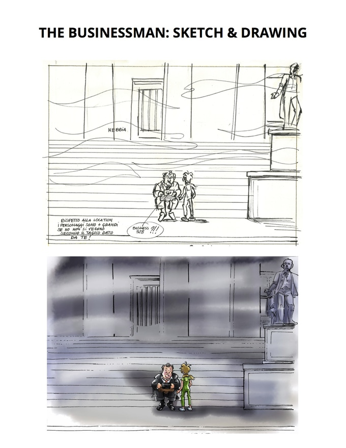 Sketch & Drawing of the businessman scene