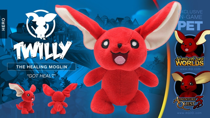 Moglins are born under a special moon and each has a unique power. They say Twilly has the power to heal, but really he is so encouraging that you really heal yourself.