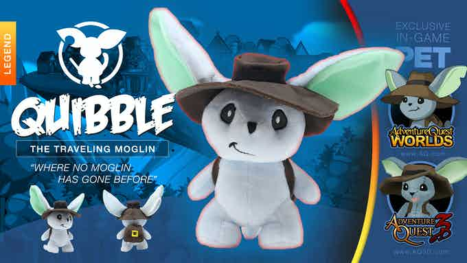 """Rumor has it that Quibble's backpack full of """"used rare items that have not been created yet"""" thanks to his relationship with a slightly corrupt time travel fairy. We looked-- and all we saw was stuffing."""