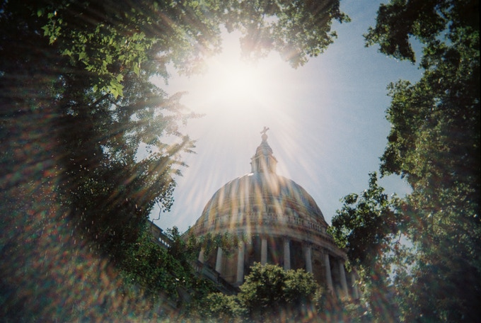 Saintly lens flare by David Fussell. December 2019 in MyLondon calendar.