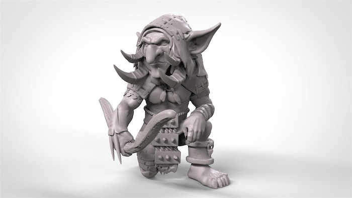 Early sculpt with approach to pose and main details