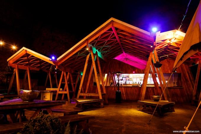Our award-winning canopy, illuminated at night