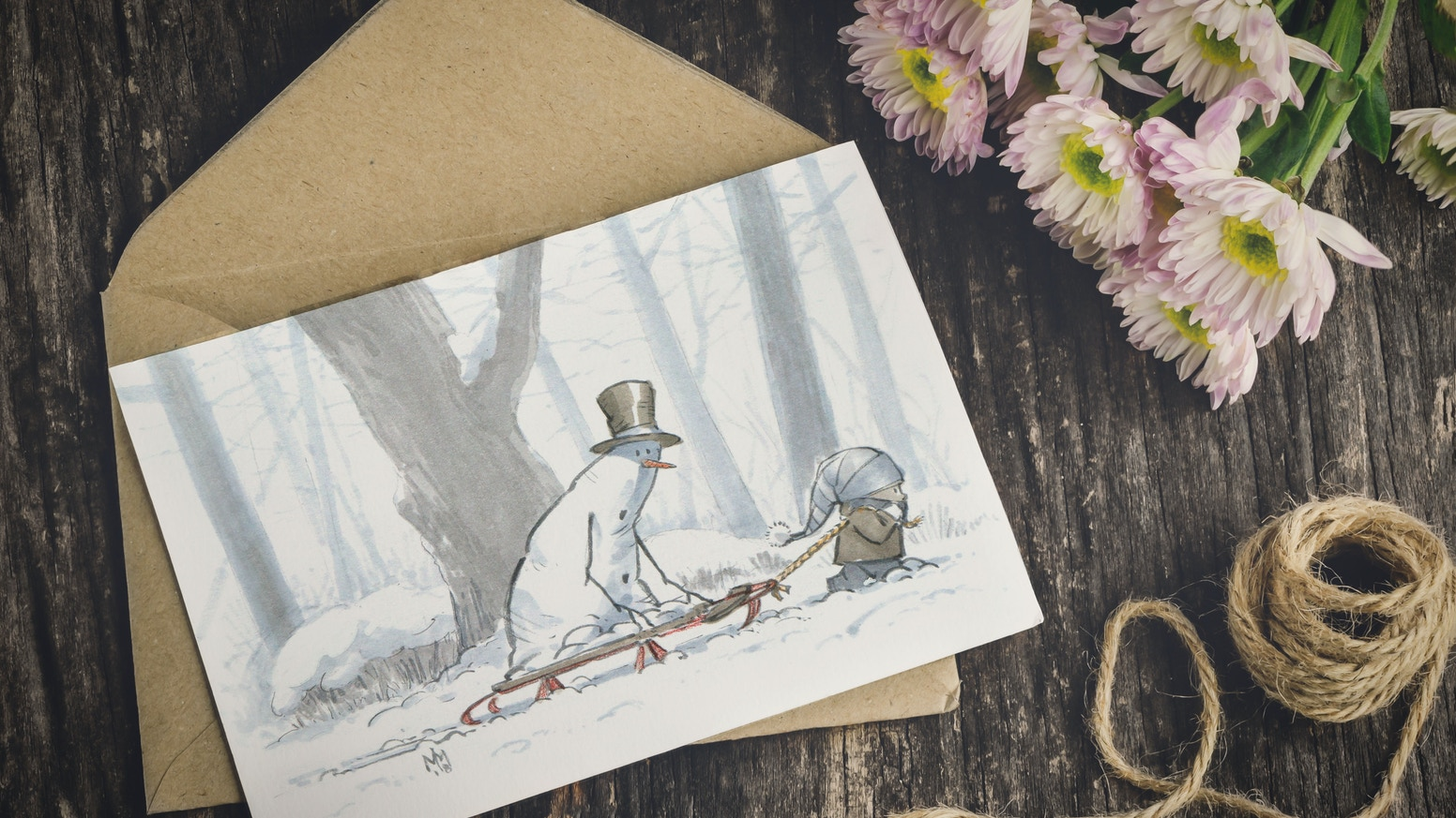 A limited-run of the 2018 collection of 10 whimsical snowman themed greeting cards featuring all-new illustrations by Mark Molchan