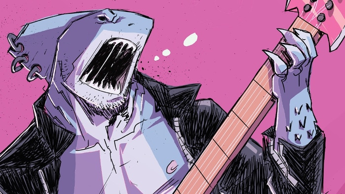 A classic shark meets demon, demon transforms shark into a sharkman, shark vows vengeance on demon story. Oh yea...HEAVY METAL forever!