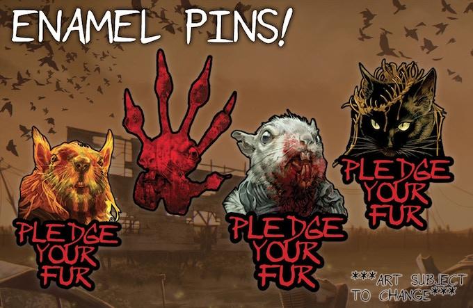 Four different Squarriors enamel pins!