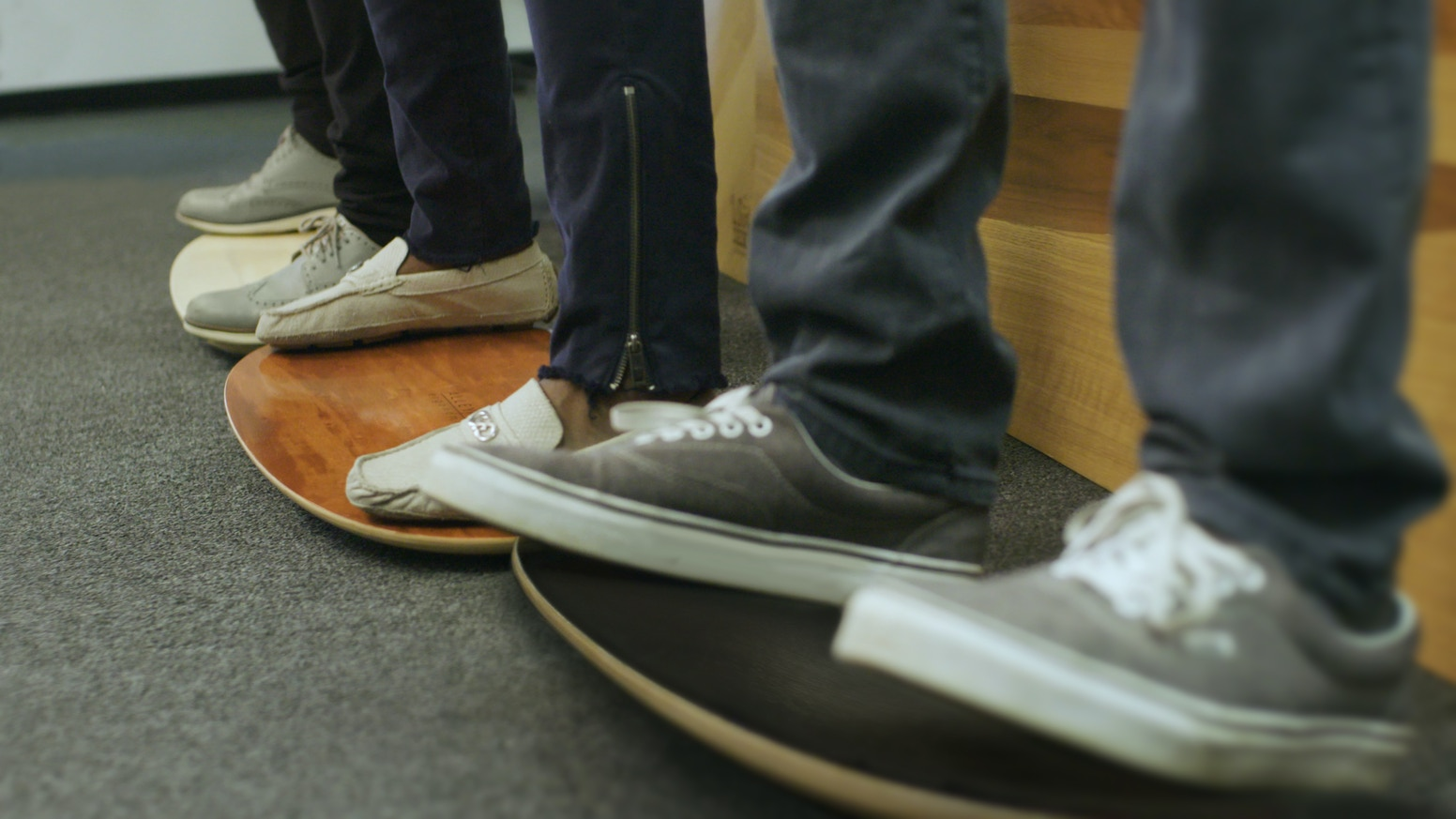 Stand comfortably and confidently at work with the AlleyOOP Rocker Board—the first omni-directional rocking board that moves you more.