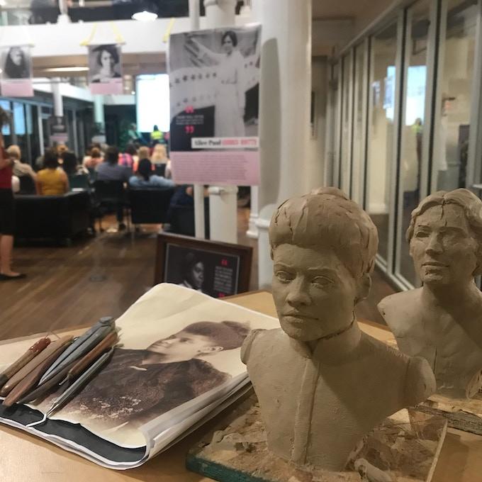 Sculpting Ida B.  Wells at our Impact Hub Salt Lake City, Utah  LIVE Launch event 08.02.2018