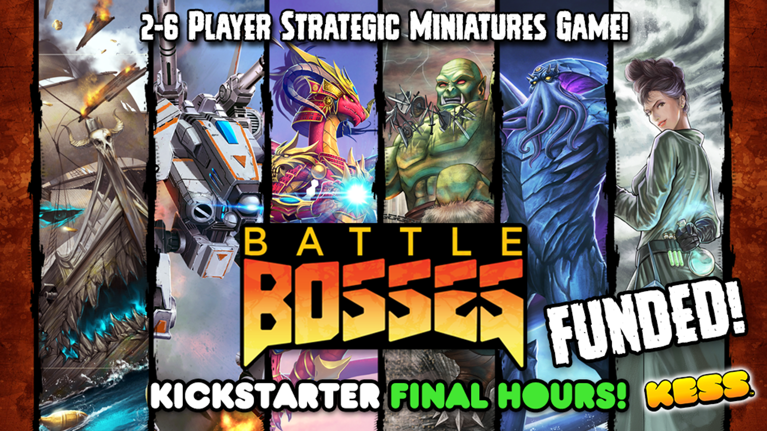 Battle Bosses is a multiplayer miniature Battle Arena game for 2-6 players where each player controls an epic Boss and their minions.
