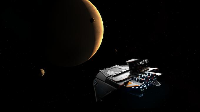 A Free Spacer contingency type corvette vectors towards orbit of terrestrial giant
