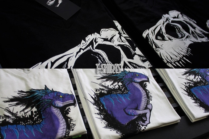 T-Rex skull and Utahraptor t-Shirts