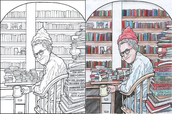Gnome Chomsky in His Study - in B&W - and a colored in example pic.