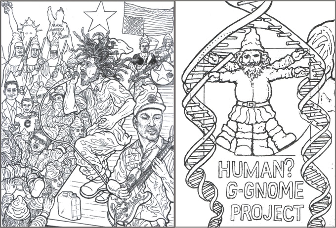 Gnomes Against the Machine - again - not colored in; A close up from the Human G-Gnome Project page