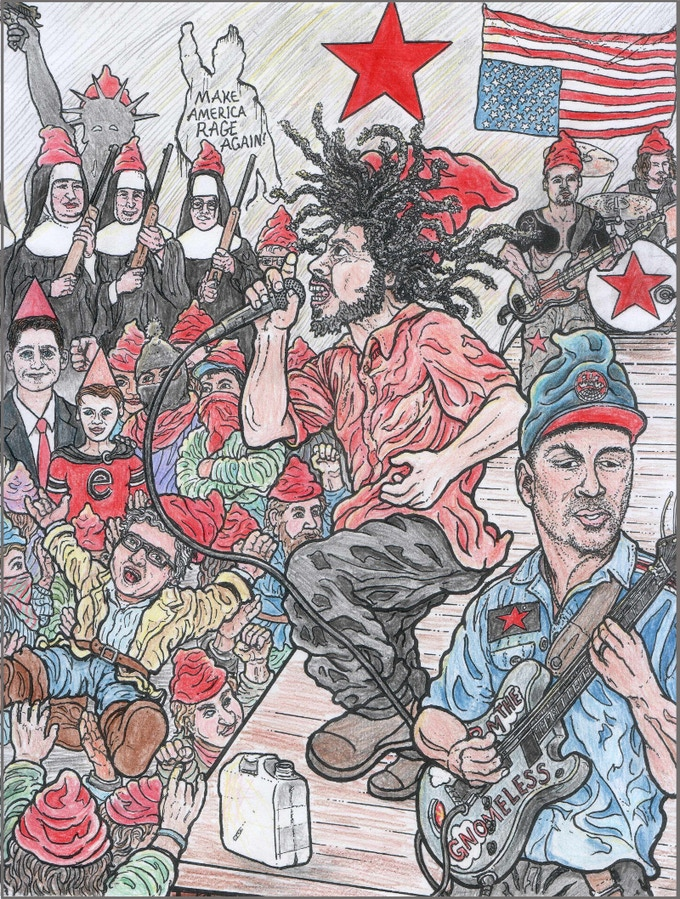 Rocking the Revolution with Gnomes Against the Machine! (colored-in example picture - check out thte crowd-surfing)