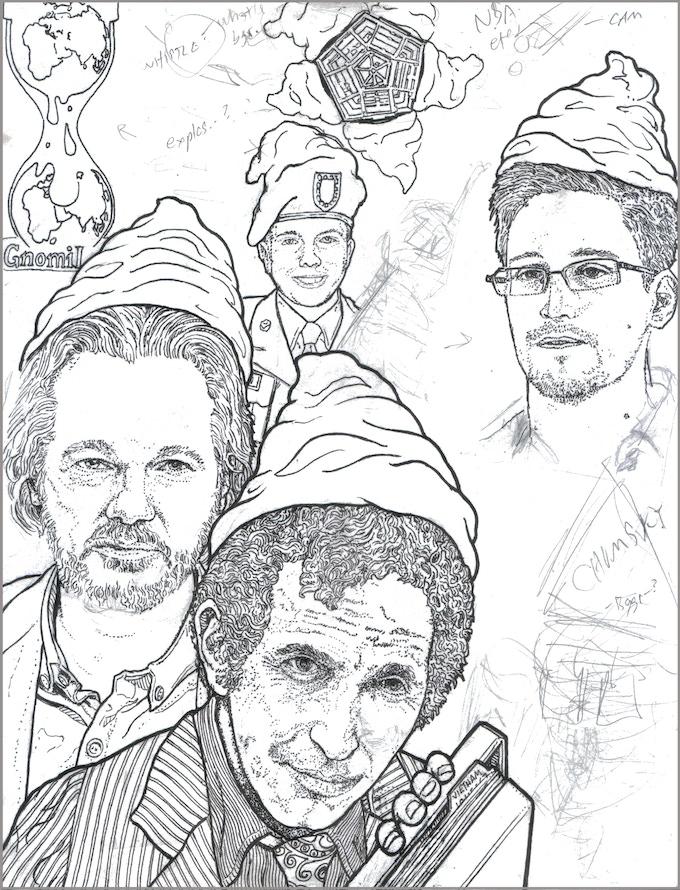 The Daniel Gnomesberg - the PentaGnome Papers, GnomiLeaks, with Gnomian Assange, Chelsea/Bradley Gnomming, and Gnomeward Snowden(?) (picture still in development)