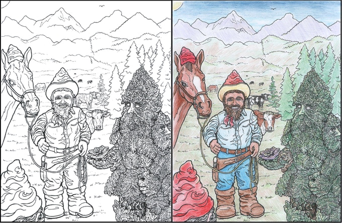 Gnome Gnome on the Range with the GreenMan Gnome - discussing Sustainable Grazing & Reforestation Strategies - with a colored-in example version too