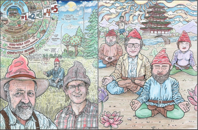 Colored In examples of the Permaculture Garden Gnomes and meditating Garden Oms