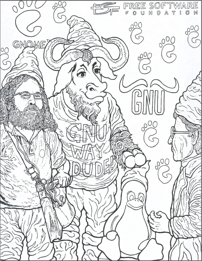 Richard Stallgnome, and the GNU Gnome and friends. Based on key figures and programs in the Sofware Freedom Movement